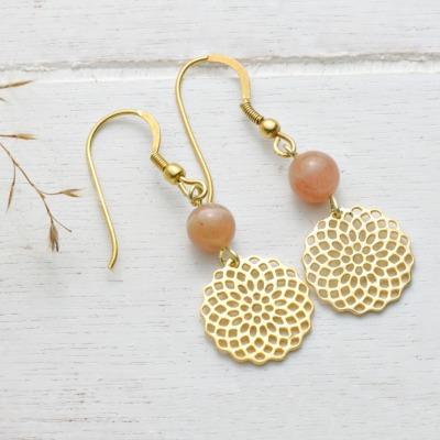 Mondstein-Ohrhänger mit Mandala Silber vergoldet Sommertrend
