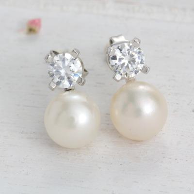 Traumhafte Perlenohrringe mit Zirkonia Klassische Ohrstecker
