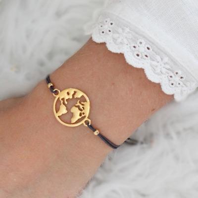 Worldmap Weltkarte-Armband elastisch filigran perfektes Geschenk
