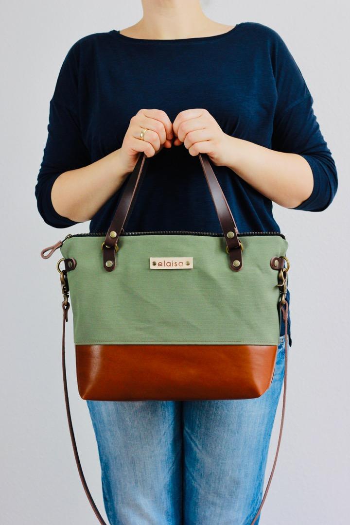 SINA: Handtasche - Waldgrün & Cognac