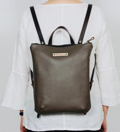 HANUA Leather Backpack in Stone Grey