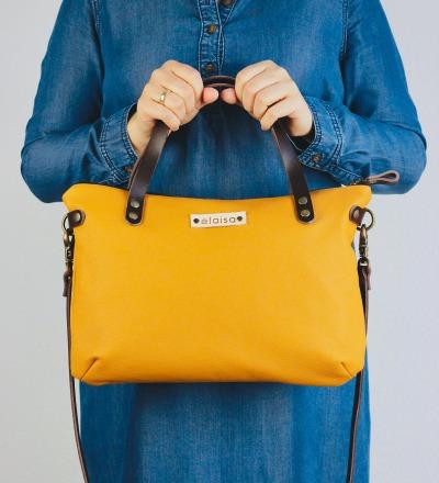 SINA: Leather Handbag - Mustard
