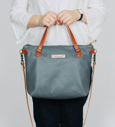 SINA - Leather Handbag - Grey