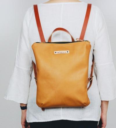HANUA - Leather Backpack in Mustard