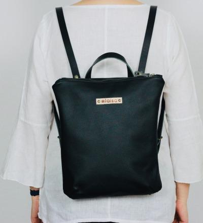 HANUA - Leather Backpack in Black