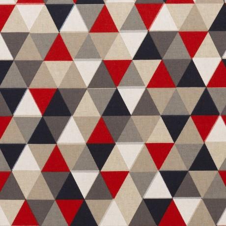 05 m Leinenoptik Dreiecke rot