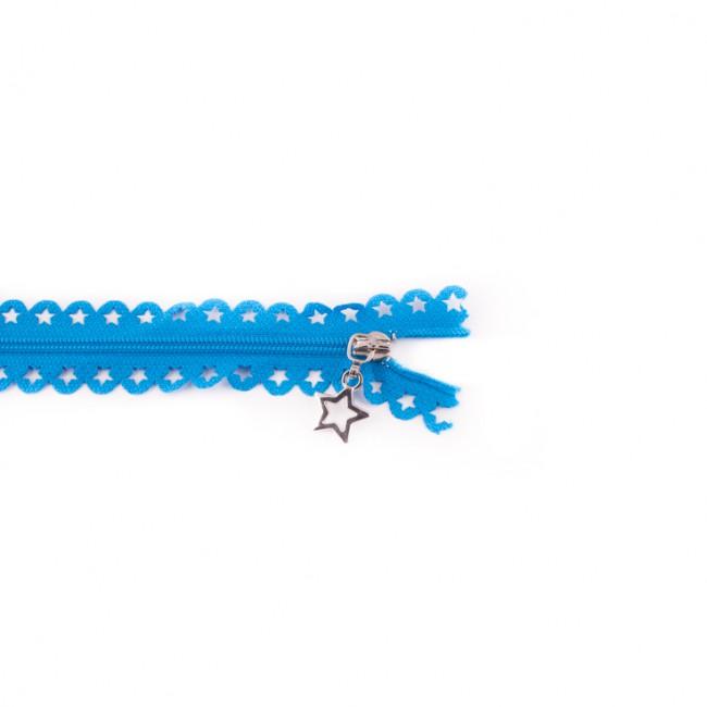 Spitzenreißverschluss Sterne 25 cm lang aqua
