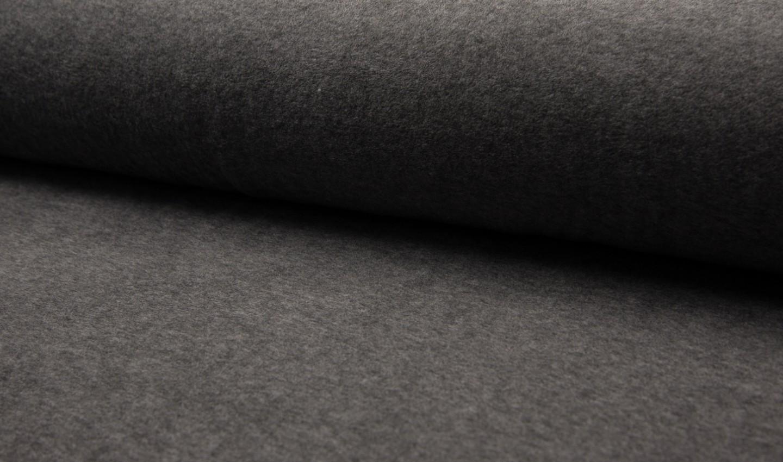 05m Baumwollfleece dunkelgrau meliert