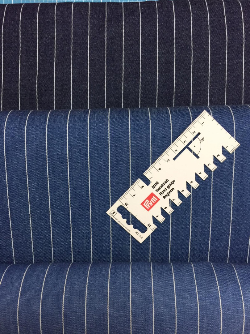 BW Webware Jeansoptik blau mit Streifen