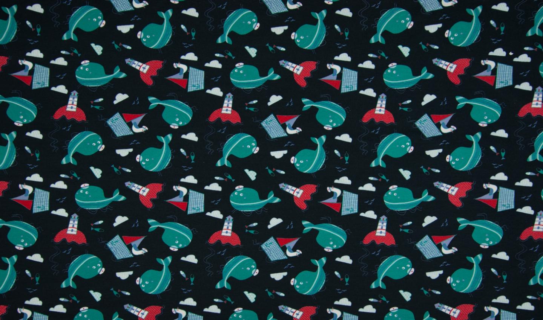 Jersey blau mit kleinen Wale und