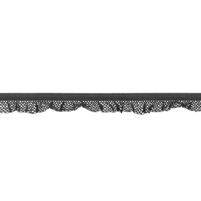 1 m Rüschengummi dunkelgrau 14mm