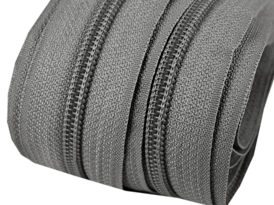 Spirale Reißverschluss mm Meterware mittelgrau 2m