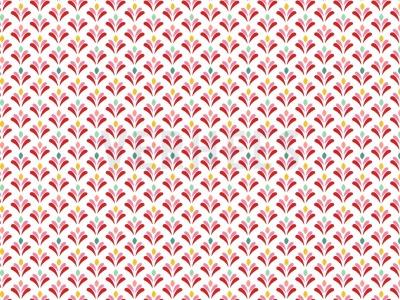 beschichtete Baumwolle buntes Muster auf weiß