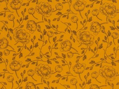 BW Musselin Blumen schwarz/senf Double Gauze