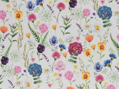05 m Blumen beige Leinenoptik