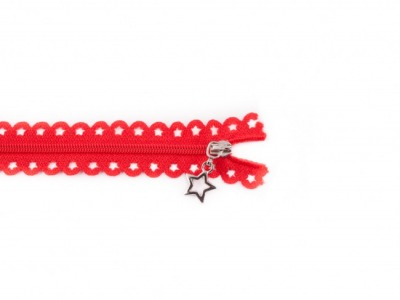 Spitzenreißverschluss Sterne 25 cm lang rot