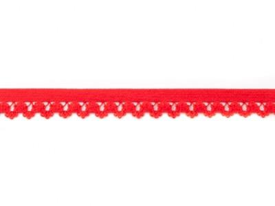 1 m Gummiband mit Spitzenbögen rot