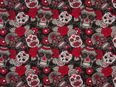 05 m Jersey Totenköpfe rot-schwarz-weiß