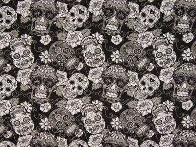 05 m Jersey Totenköpfe schwarz-weiß