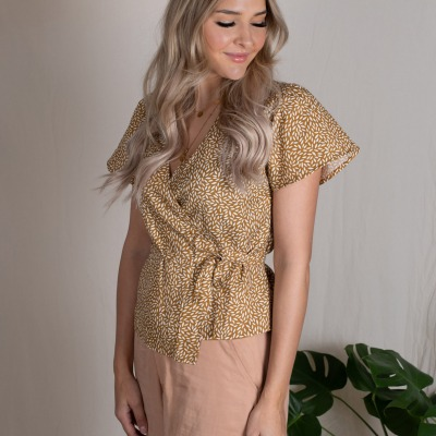 Tudela wrap blouse Printed wrap blouse