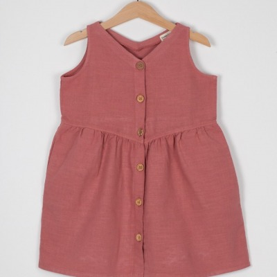 Alicante Dress/ Sleeveless dress with button