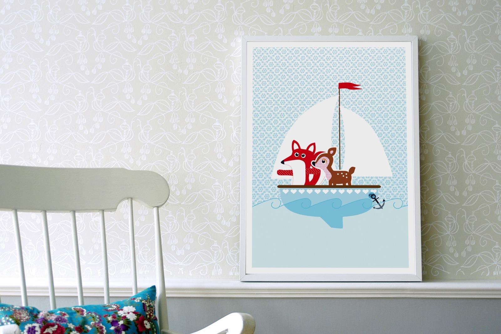 Plakat Poster Fuchs und Reh auf - 2