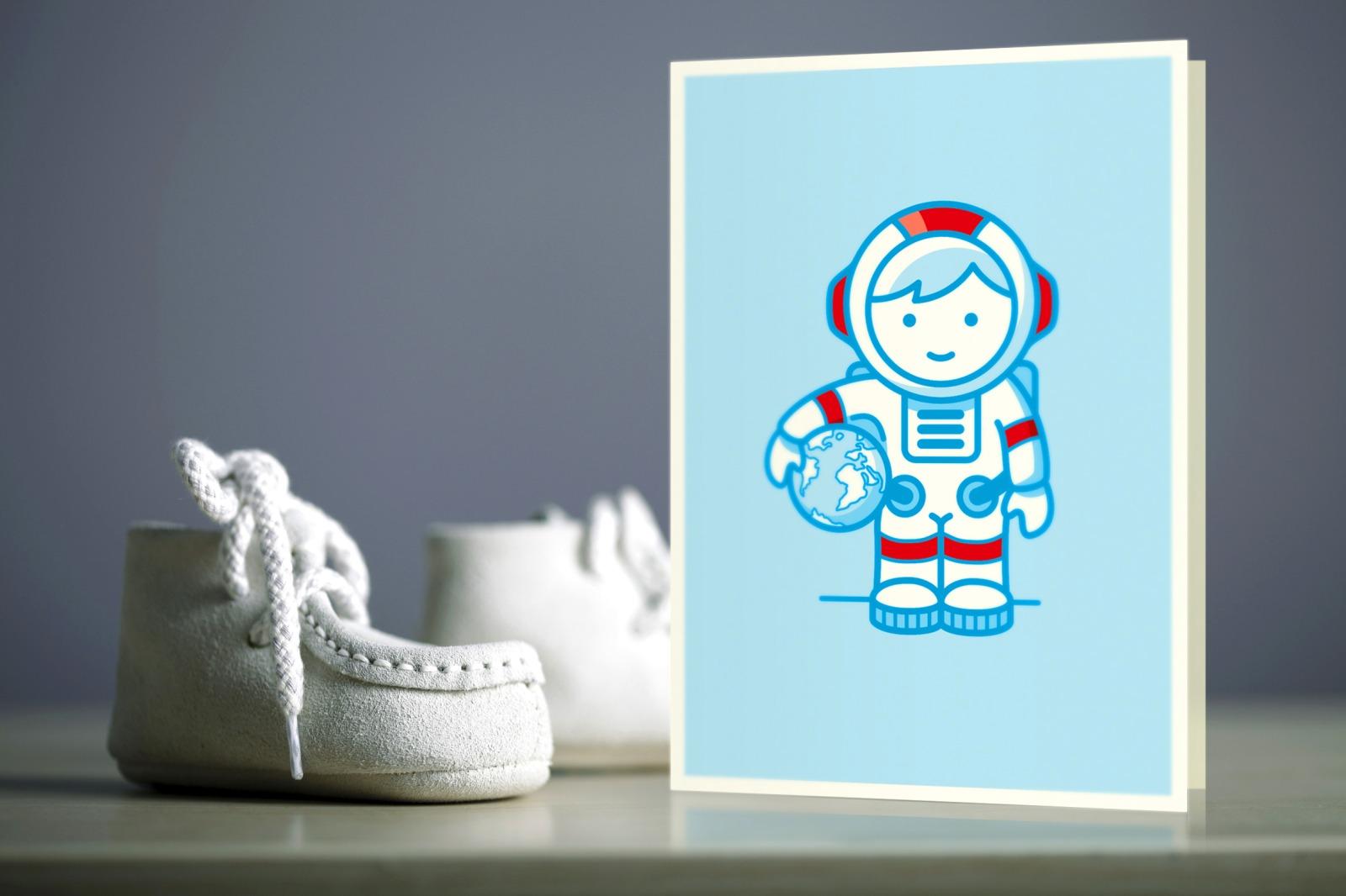 Klappkarte zur Geburt Mann im Mond