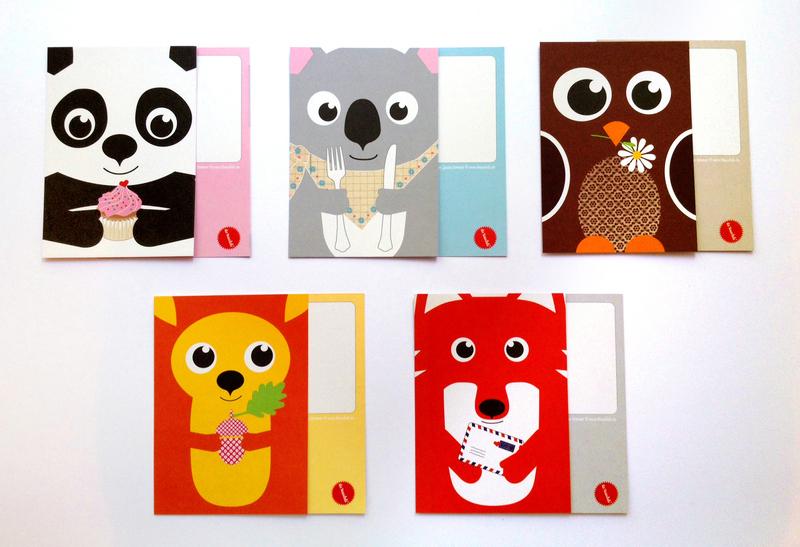 Postkarten Fuchs Panda Koala Spatz und - 2