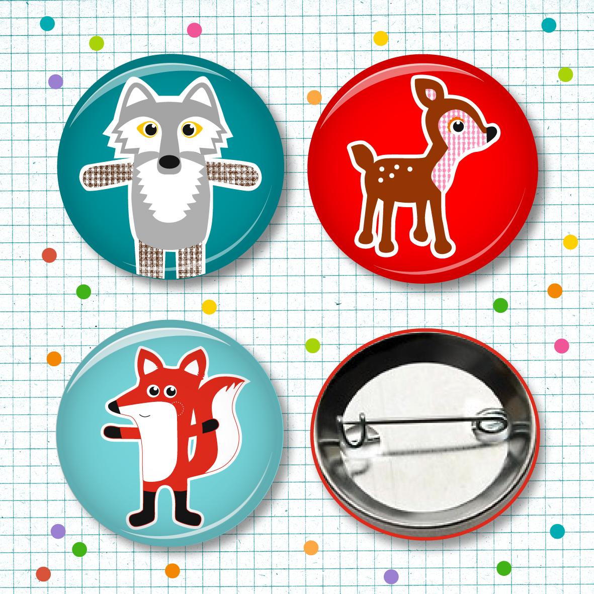 Buttonset Fuchs, Wolf & Reh - 3 Stück - 1