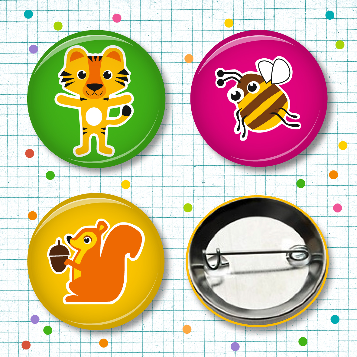 Buttonset Tiger Brumse Hoernchen - 3 Stueck