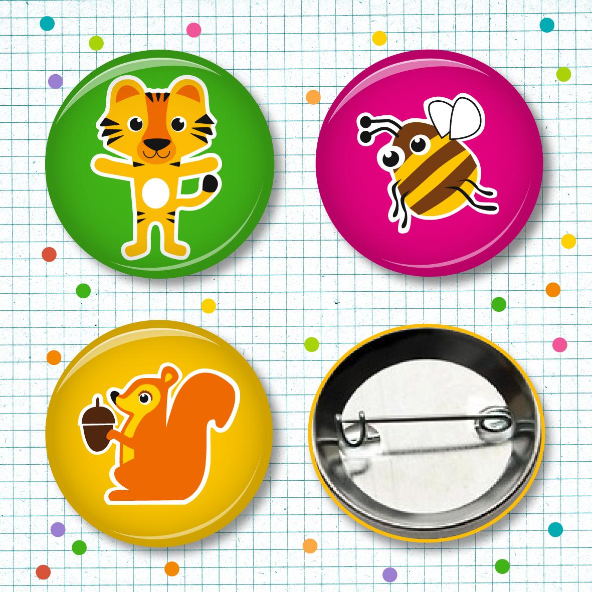 Buttonset Tiger, Brumse & Hörnchen - 3 Stück