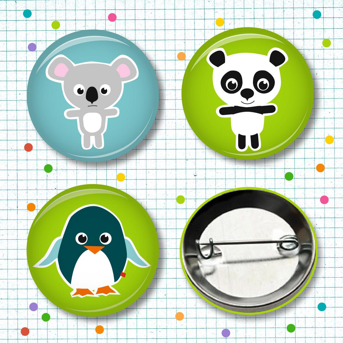 Buttonset Koala, Panda & Pingu - 3 Stück - 1