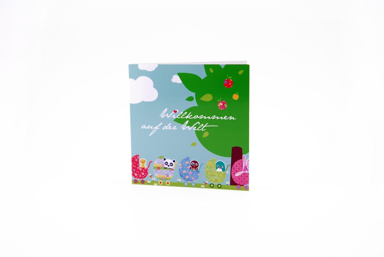 Grusskarte zur Geburt Klappkarte Geburtskarte