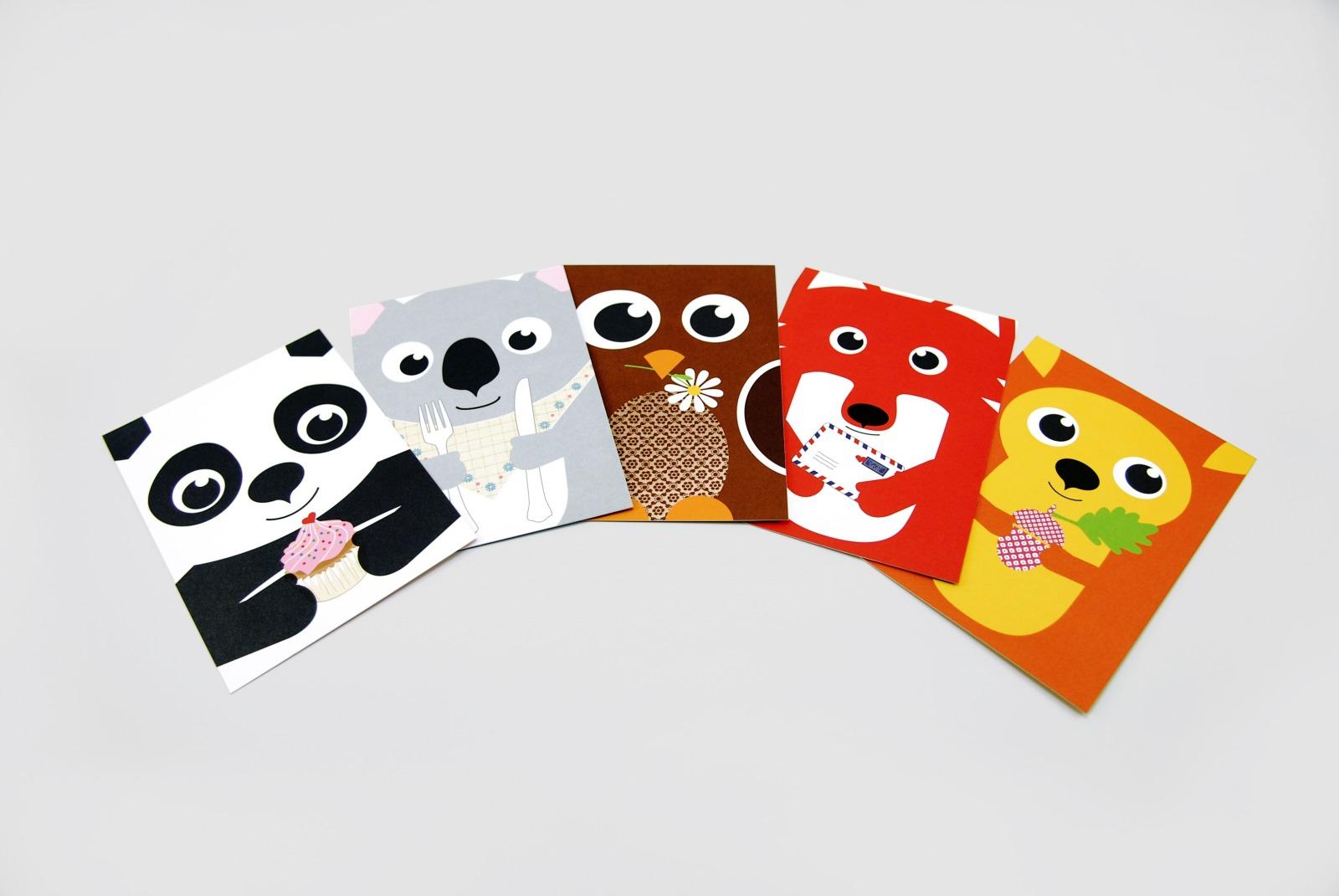 5 Postkarten Fuchs Panda Koala Spatz und Eichhoernchen
