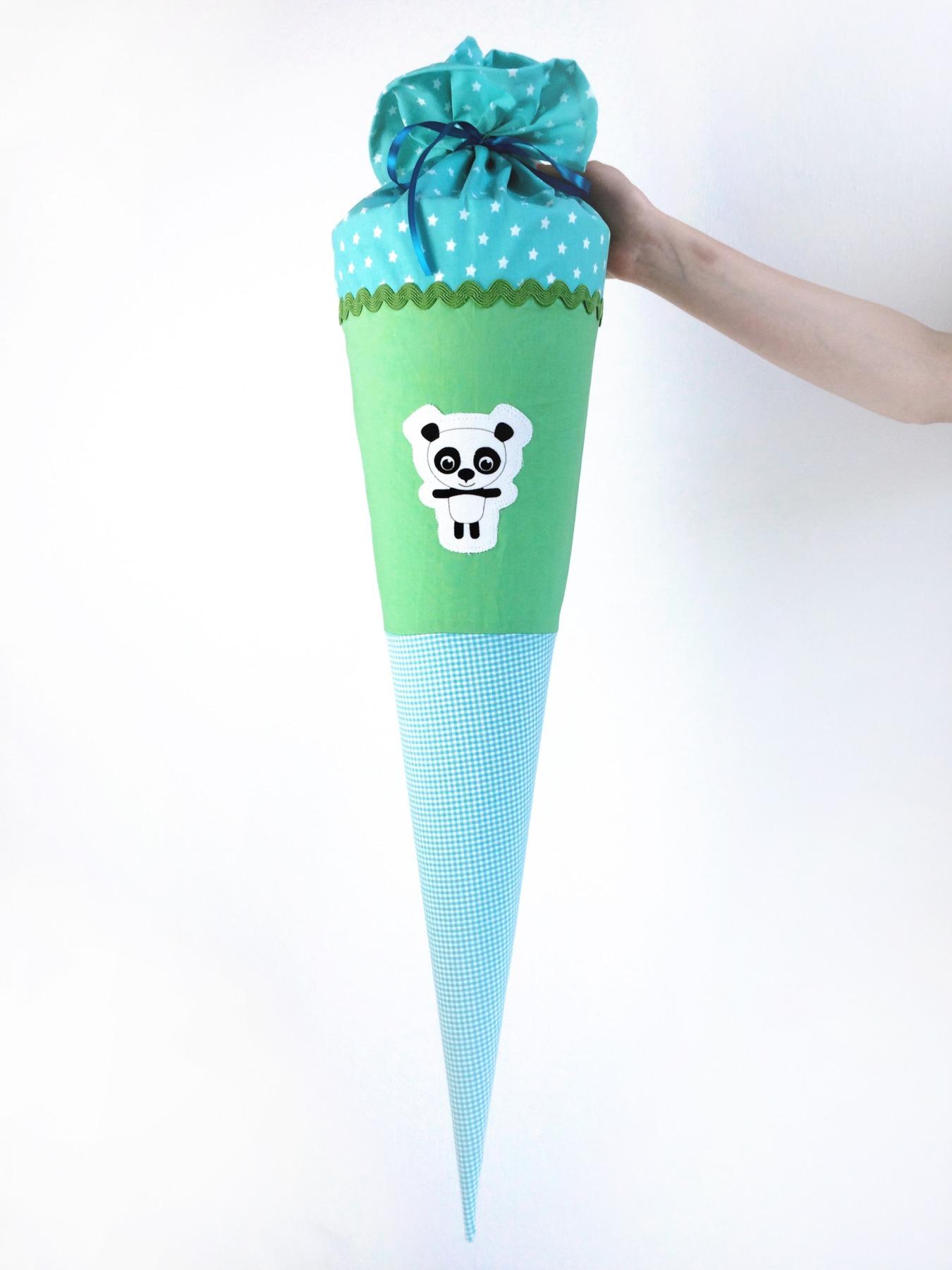 Schultüte Panda türkis-grün 70cm - 1