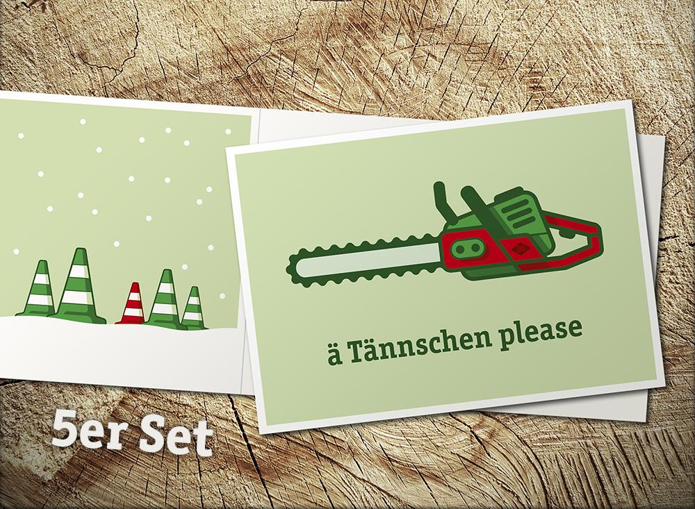 5er Set Weihnachstkarten ä Tännschen please - 2