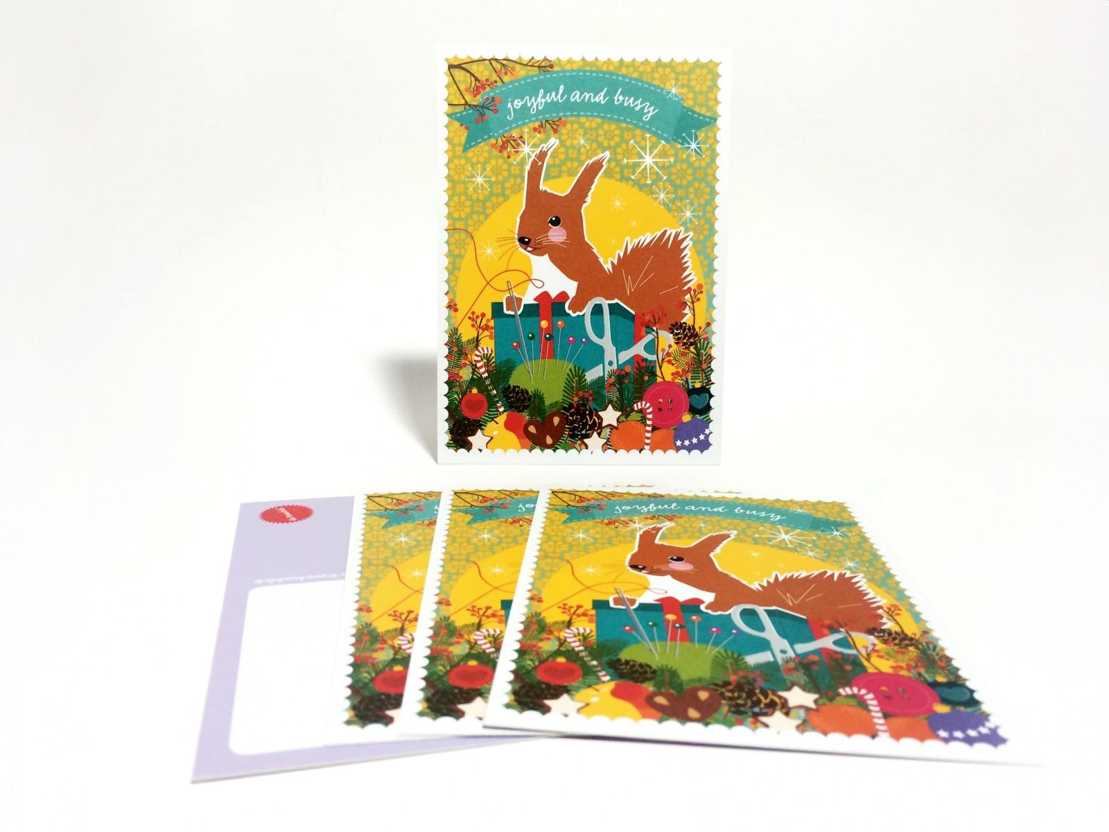 Weihnachtskarten DIY Eichhörnchen / 5 Karten