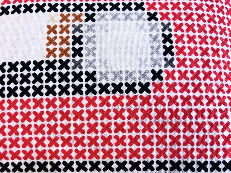 Kassetten Kissen rot Retro Kreuzstich