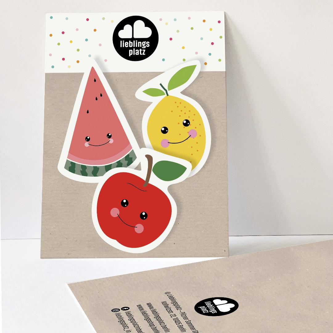 Aufkleberset Obst Apfel Zitrone Melone Sticker Outdooraufkleber Sticker-Set Melonenaufkleber Apfelaufkleber - 1