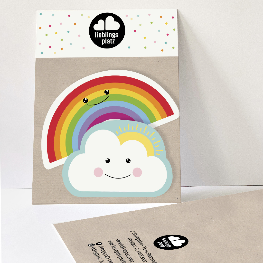 Aufkleberset Wolke und Regenbogen Sticker Outdooraufkleber Sticker-Set Regenbogenaufkleber