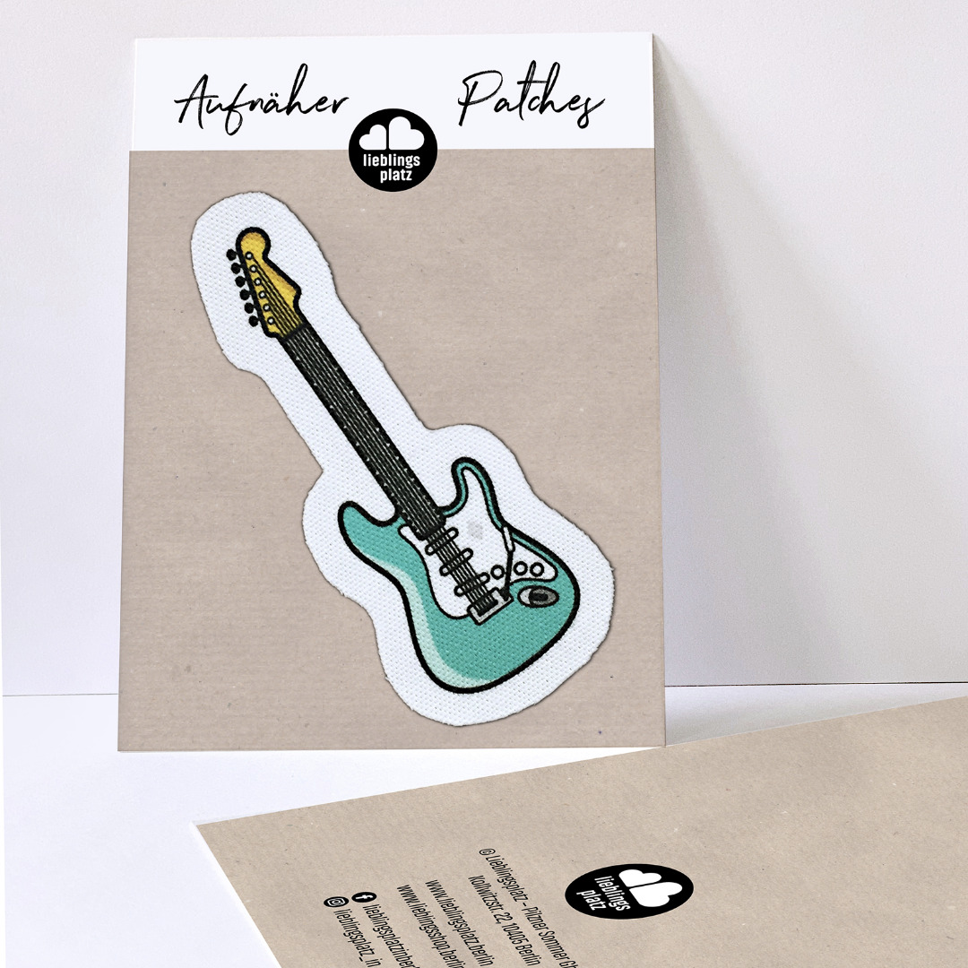 Aufnäher E-Gitarre türkis - 1