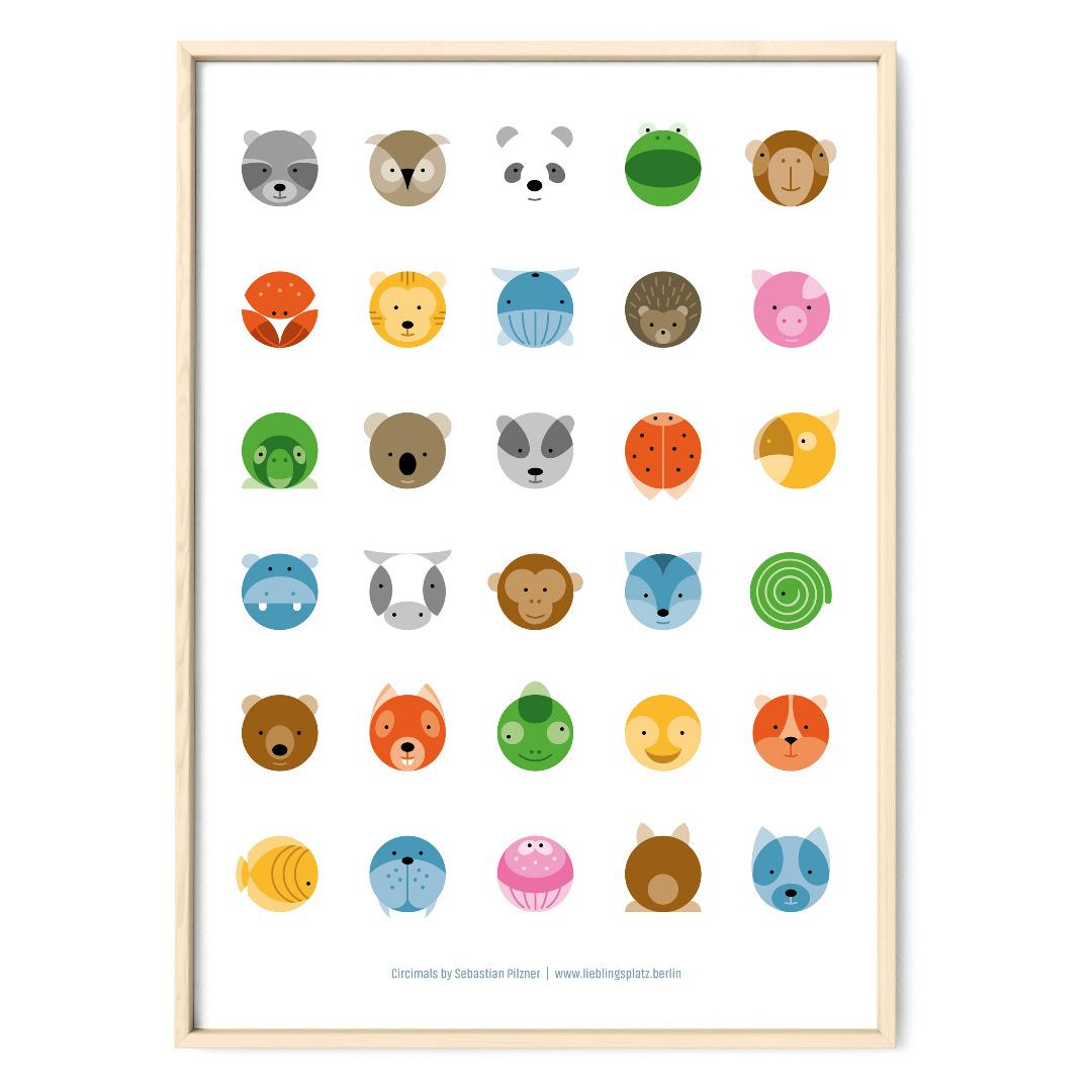 Tier Poster Plakat Animals Kreise