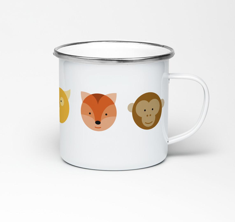 Emailletasse Circimals Tiere Emaillebecher Tasse Tierbilder Kinderzimmer Kindertasse Tasse für Kinder - 2