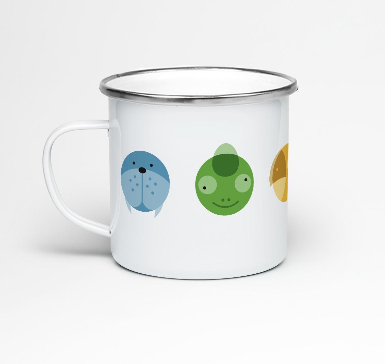 Emailletasse Circimals Tiere Emaillebecher Tasse Tierbilder Kinderzimmer Kindertasse Tasse für Kinder - 1