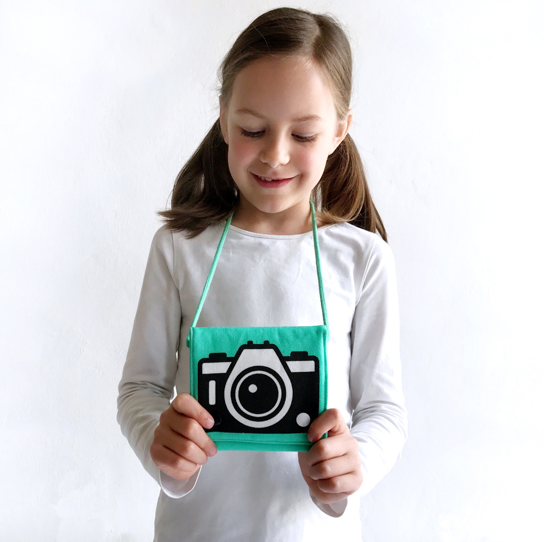 türkise Umhängetasche mit Kamera-Motiv, Fototasche, Motivtasche - 1