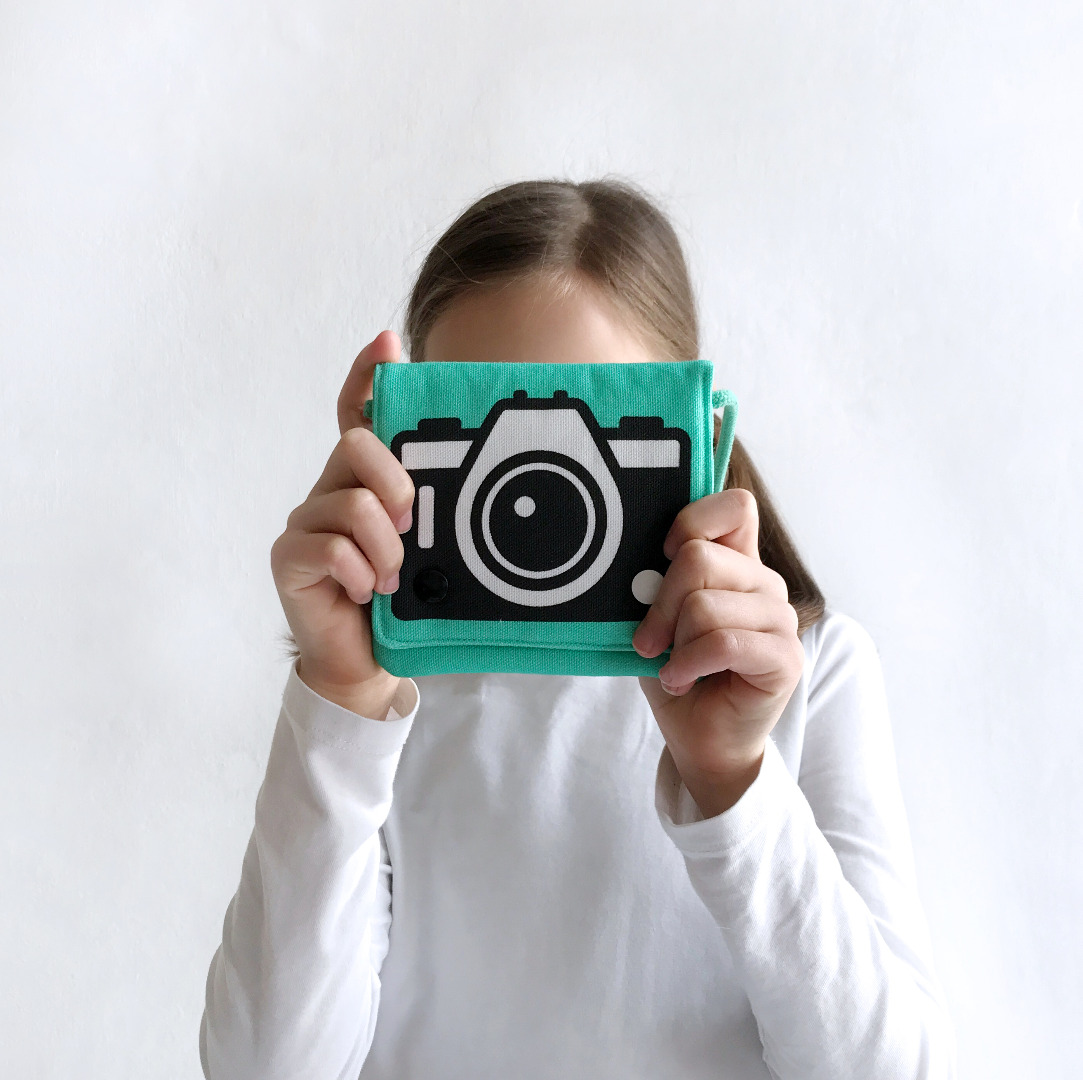türkise Umhängetasche mit Kamera-Motiv, Fototasche, Motivtasche