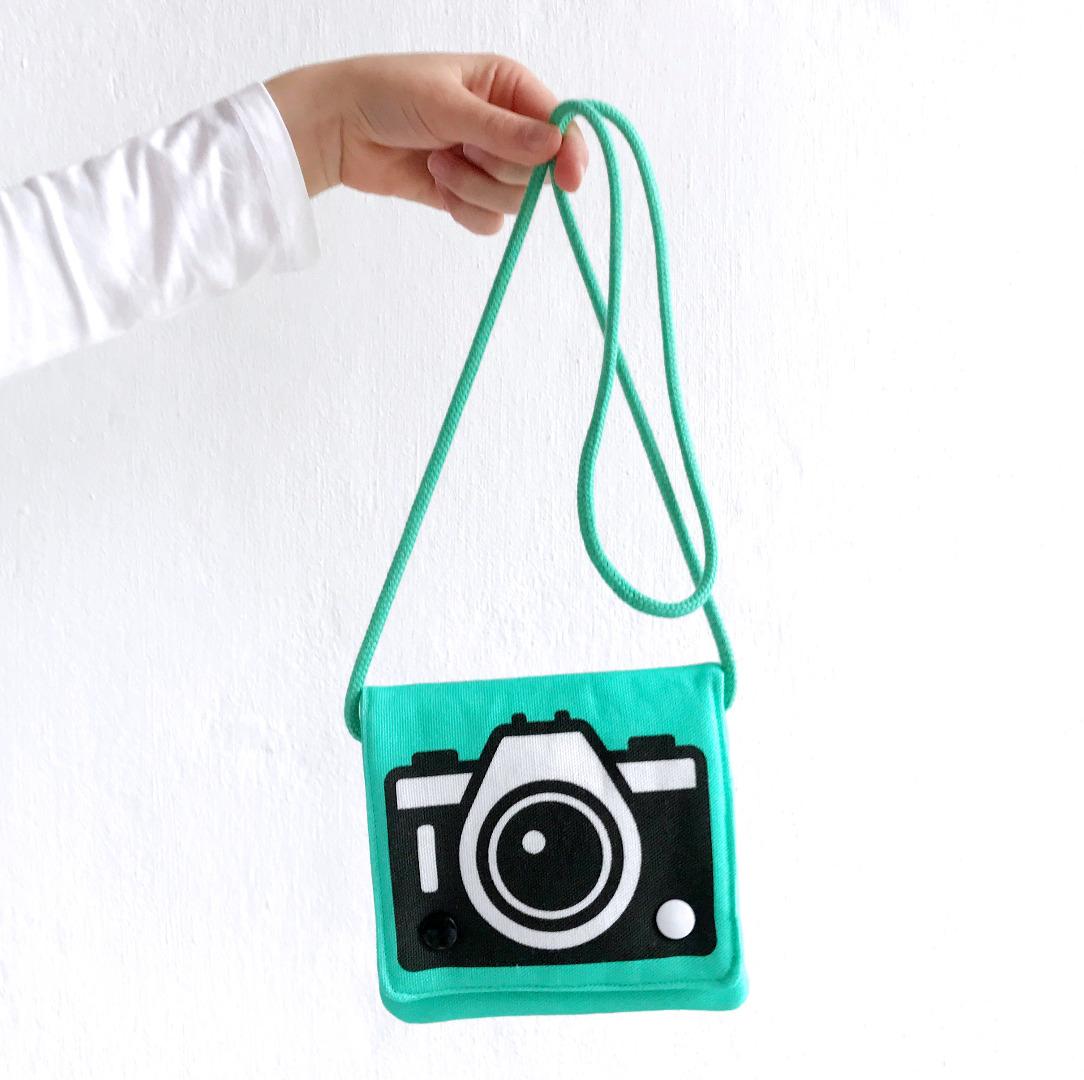 türkise Umhängetasche mit Kamera-Motiv, Fototasche, Motivtasche - 2