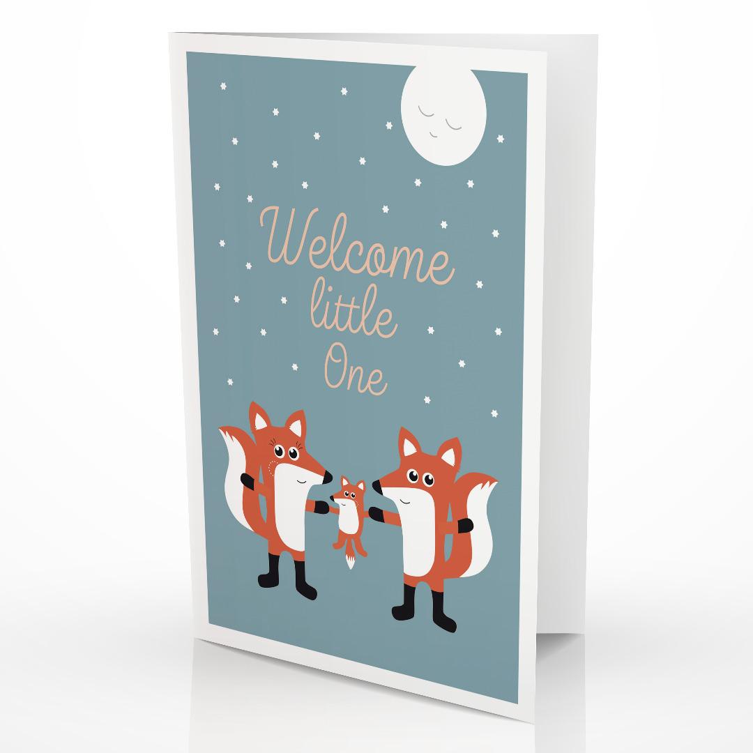 Grußkarte Fuchsfamily Glückwunschkarte zur Geburt 2