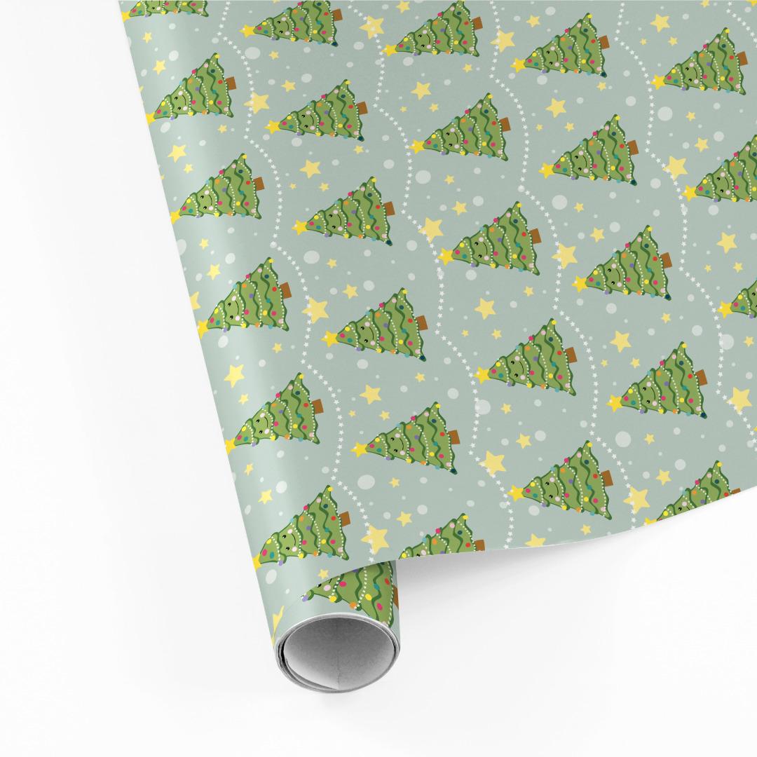 5 Bögen Geschenkpapier Weihnachtsbaum