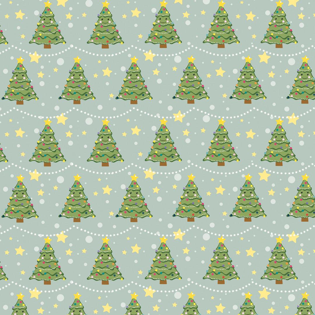 5 Bögen Geschenkpapier Weihnachtsbaum 2